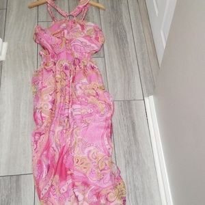 Cache Dresses - Silk dress with gold thread